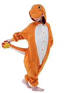 Kigurumi Pyjamas New Cosplay® Drage Trikot/Heldragtskostumer Festival/Højtider Nattøj Med Dyr Halloween Oransje Patchwork Fløjl Mink