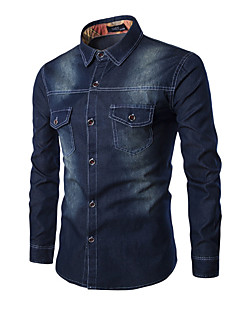 Men's Solid Work / Formal Shirt,Cotton / Polyester Long Sleeve Blue