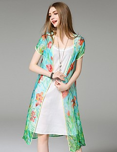 Angel Women's Casual/Daily Street chic Summer Jackets,Print V Neck Short Sleeve Green Silk Thin