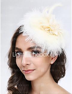 成人用 羽毛 チュール ネット かぶと-結婚式 パーティー ヘッドドレス 1個