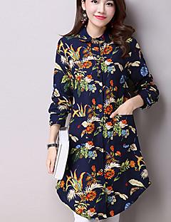 Mulheres Camisa Casual Moda de Rua Outono,Floral Azul / Preto Algodão / Linho Colarinho de Camisa Manga Longa Média