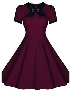 Vrouwen Casual/Dagelijks Vintage A-lijn Jurk Effen-Ronde hals Tot de knie Korte mouw Blauw / Rood Polyester / Spandex Zomer