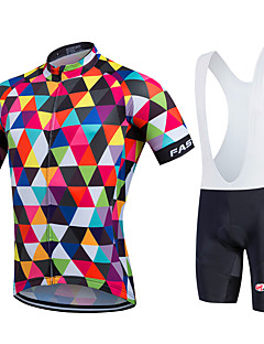 fastcute Cycling Jersey with Bib Shorts Women's Men's Kid's Unisex Short Sleeve BikeBreathable Quick Dry Moisture Permeability YKK Zipper