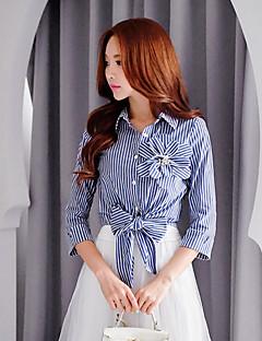 dabuwawa kvindearbejde / fest / cocktail / ferie vintage / gade chic / sofistikerede skjorte, stribet / patchwork flipperne
