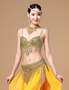 Belly Dance Outfits Women's Performance Cotton / Polyester Beading / Tassel(s) 3 Pieces Gold / Silver