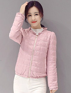 Women's Solid Pink / White Down Coat,Street chic Round Neck Long Slim Sleeve