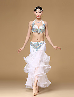 Belly Dance Outfits Women's Performance Organza Crystals/Rhinestones / Embroidery / Ruched / Sequins 2 Pieces