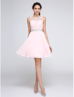 2017 ts couture® prom cocktail party dress a-lijn juweel knielange chiffon / kant met kralen / lace