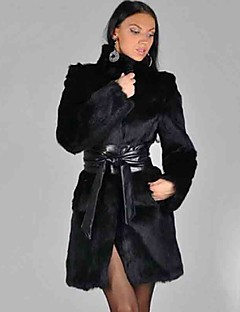 Women's Plus Size / Casual/Daily Simple Warm Slim Fur Coat,Patchwork Stand Long Sleeve Winter Black