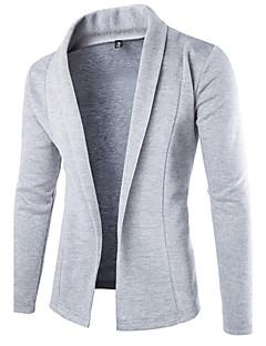 Men's Casual/Daily Simple Regular Cardigan,Solid Black Gray Shirt Collar Long Sleeve Wool Fall Winter Medium Micro-elastic