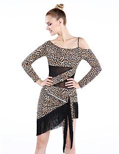 Latinské tance Šaty Dámské Výkon Viskózová vlákna Střapce / Levhart Jeden díl Dlouhé rukávy Šaty Dress length M-L: 98cm