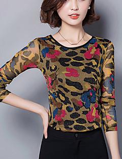 Blusa Da donna Casual / Taglie forti Sensuale Primavera / Autunno,Con stampe Rotonda Nylon Rosa / Verde Manica lunga Medio spessore