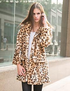 Mulheres Casaco de Pelo Happy-Hour / Casual / Festa/Coquetel Sensual / Simples / Chinoiserie Outono / Inverno,Sólido / Leopardo Amarelo