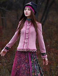 V-hals Langærmet Tyk Dame Rosa Blomstret Vinter Vintage I-byen-tøj Jakke,Rayon / Polyester