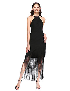 2017 Lanting bride® georgette assimétrica pouco vestido de dama de honra vestido preto - bainha / jóia coluna com babados