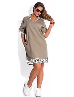 Women's chic Shirt DressPatchwork Shirt Collar Above Knee  Length Sleeve Multi-color Polyester SummerMid