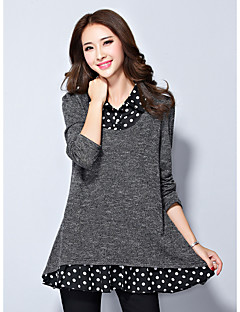 Women's Casual/Daily Simple Regular PulloverSolid Gray Round Neck Long Sleeve Others Fall Medium