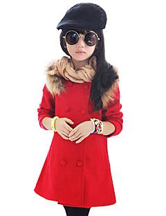 Menina de Capa & Casaco Duvet,Casual Patchwork Lã Inverno / Primavera / Outono Vermelho