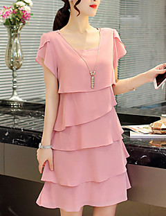 Maternity Casual/Daily Simple Loose Dress,Solid Round Neck Above Knee Short Sleeve Pink / Red / Black Polyester Summer