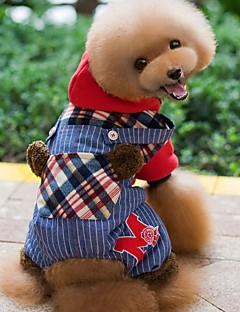 犬用品 パーカー ジャンプスーツ 犬用ウェア 冬 春/秋 格子柄 ホリデー ファッション レッド グリーン