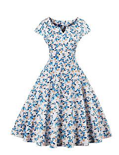 Women's Plus Size Vintage Sheath Dress Round Neck Knee-length Short Sleeve Cotton / Polyester