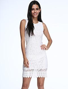 קיץ כותנה לבן / שחור ללא שרוולים עד הברך צווארון עגול מסיבה\קוקטייל שמלה צינור נשים מיקרו-אלסטי אטום