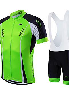 Fastcute® Cykeltrøje og shorts med seler Herre Unisex Kort Ærme Cykel Åndbart Hurtigtørrende Forside Lynlås Påførelig Komprimering
