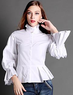 AJIDUO® Damen Ständer Lange Ärmel Shirt & Bluse Schwarz / Weiß-9130