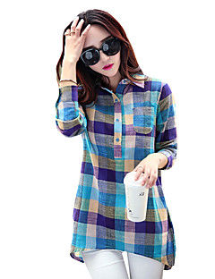 Women's Casual/Daily Simple Spring / Fall All Match T-shirtPlaid Shirt Collar Long Sleeve Blue