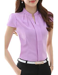 Women's Solid Pink / White / Purple Blouse,V Neck Short Sleeve