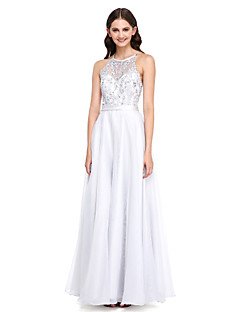 2017 Lanting Bride® Floor-length Lace / Organza Elegant Bridesmaid Dress - A-line Jewel with Appliques