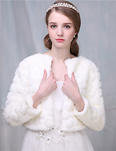 Women's Wrap Shrugs 3/4-Length Sleeve Faux Fur Ivory Wedding / Party/Evening Scoop 41cm Open Front