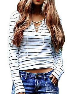 Women's Casual/Daily Sexy / Street chic Spring / Fall Hollow Out Slim Bandage T-shirtStriped V Neck Long Sleeve White