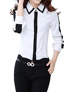 Knapp Långärmad Skjorta Kvinnors Tröjkrage Polyester