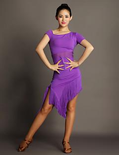 Latinské tance Šaty Dámské Výkon Viskóza Střapce Jeden díl Krátké rukávy Přírodní Šaty S:110cm M:111cm L:112cm XL:113cm XXL:114cm