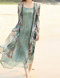 Women's Going out / Beach Chinoiserie Loose Dress,Print V Neck Midi Long Sleeve Green Polyester Fall