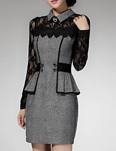 Women's Lace Patchwork Red/Gray Lace Hin Thin Slim Temperament Dress,Work/Plus Sizes Shirt Collar Long Sleeve