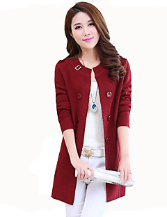 Women's Plus Size / Casual/Daily Simple / Street chic Slim Spring / Fall JacketsSolid Round Neck Long Sleeve