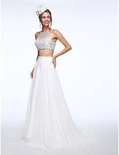 LAN TING BRIDE A-Linie Svatební šaty Svatební šaty dva v jednom Dlouhá vlečka Bateau Šifón s Korálky Flitry