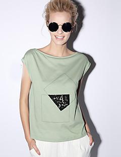 neu vor casual / Tages einfach Sommer t-shirtsolid Boot Hals Kurzarm weiß / grün Frauen