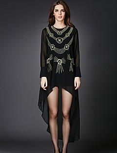 Damen Lose Kleid-Ausgehen Einfach Stickerei Rundhalsausschnitt Asymmetrisch Langarm Schwarz Baumwolle / Polyester FrühlingMittlere