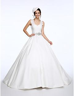 Lanting Bride® Balkjole Brudekjole Hofslæb Stropper Blondelukning / Satin med Bælte / bånd / Sløjfe