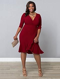 קיץ סתיו ספנדקס כחול אדום שחור סגול אורך שרוול ¾ מידי V עמוק אחיד סקסי וינטאג' סגנון רחוב ליציאה מסיבה\קוקטייל מידות גדולות שמלה נדן נשים,