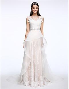 A-라인 웨딩 드레스 코트 트레인 쥬얼리 레이스 / 튤 와 아플리케 / 크리스탈