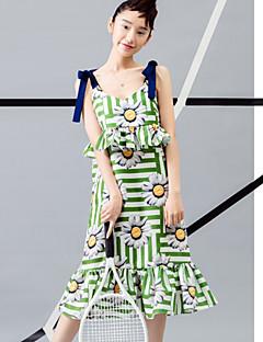 room404 női kiment aranyos köpeny dressfloral szíj térdig érő ujjatlan zöld poliészter