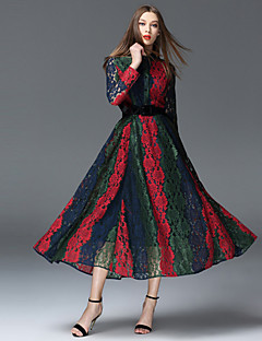 FRMZ  Going out Sophisticated Sheath DressColor Block Shirt Collar Maxi Long Sleeve Red Polyester Spring