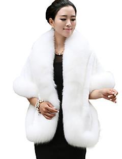 Manteau en Fourrure Femme,Couleur Pleine Sortie Soirée / Cocktail Vintage Sophistiqué Manches ¾ Col châle Rouge Blanc Noir GrisFausse