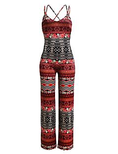 Women's Sexy Deep V Print Backless Wide Leg Pants Bohemia Strap Sleeveless Jumpsuits