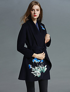 Boutique S Women's Formal Sophisticated CoatPrint Shawl Lapel Long Sleeve Fall / Winter Blue / Gray Polyester Medium
