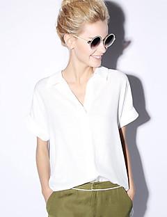 Damen Solide Einfach Lässig/Alltäglich Bluse,V-Ausschnitt Sommer Kurzarm Polyester Undurchsichtig